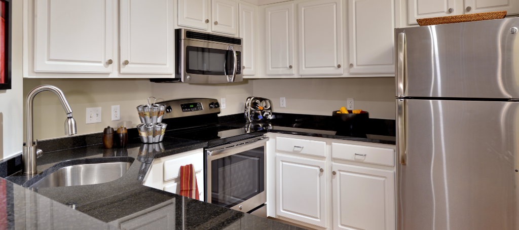 granite countertops and stainless steel appliances